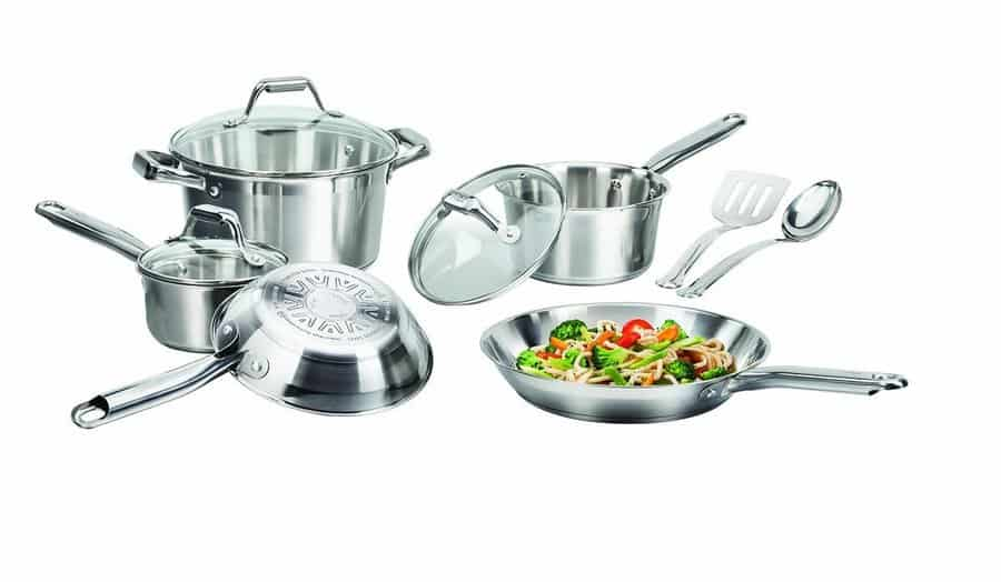 T-fal 2100064662 C811Sa Elegance Cookware Set, Stainless Steel/Silver, 10 Piece