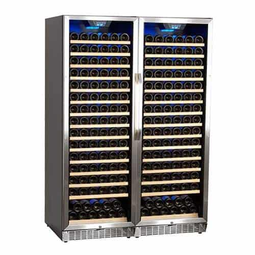 Edgestar 'CWR1661SZDUAL' 332 Bottle Built-In Side-by-Side Wine Cellar Stainless Steel, Black Color