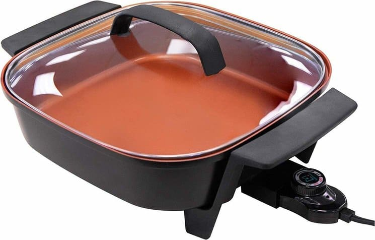 NuWave Electric Skillet 12 Inch 5 Quart Nonstick with Tempered Glass Lid