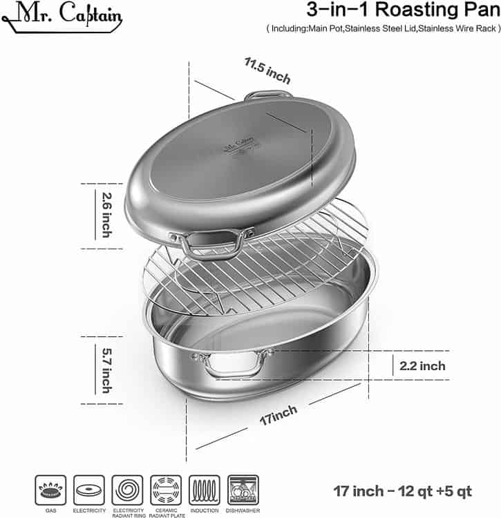 Mr Captain 18/10 Stainless Steel 12 Quart Covered Oval Roaster with Wire Rack, Dishwasher Safe Oven Safe Multi-Use Roasting Pan Oval Stockpot, Induction Compatible 17 Inch