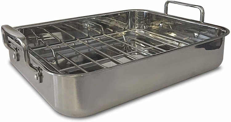 "Gourmet Catalog Product 18"" Tri-Ply Stainless Steel Roasting Pan and Rack With Handles"