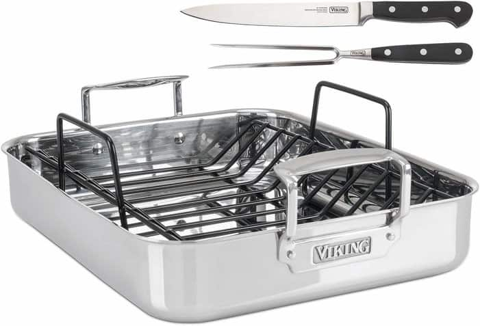 Viking Culinary 4013-9902 3-Ply Stainless Steel Roasting Pan Set