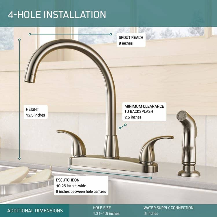 Peerless Tunbridge 2-Handle Kitchen Sink Faucet with Side Sprayer