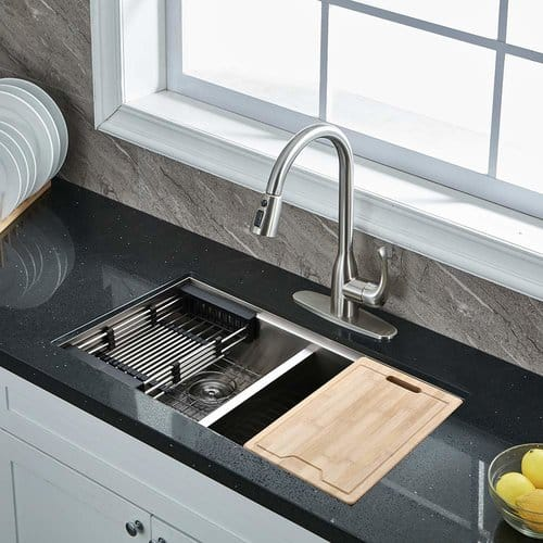VALISY Lead-free Modern Commercial Brushed Nickel Stainless Steel Single Handle Pull Down Sprayer Kitchen Sink Faucet