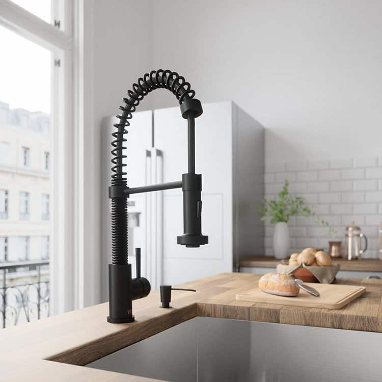 VIGO VG02001MB Edison Solid Brass Single Handle Pull Down Sprayer Kitchen Sink Faucet