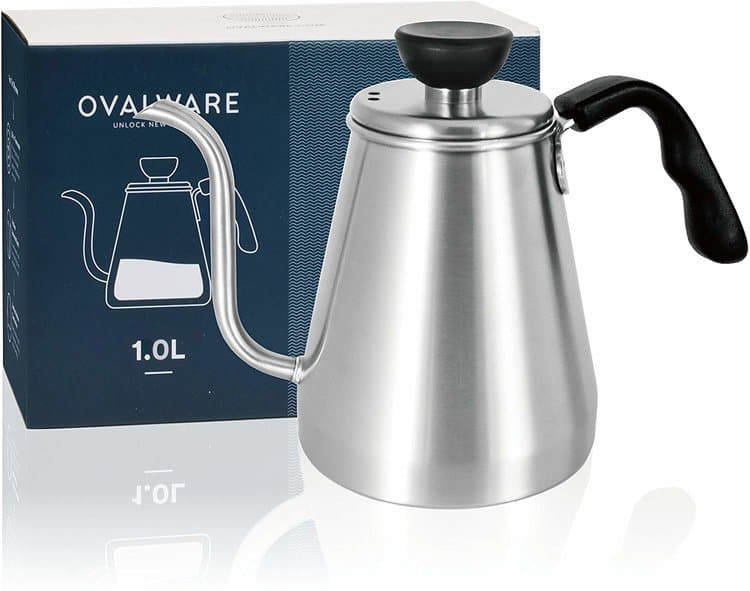 Pour Over Coffee Kettle and Tea Kettle 1.0L / 34oz - Ovalware RJ3 Stainless Steel Drip Kettle