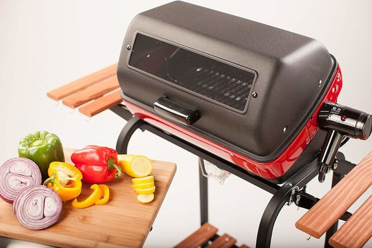 Americana Electric Cart Grill with two polymer side tables